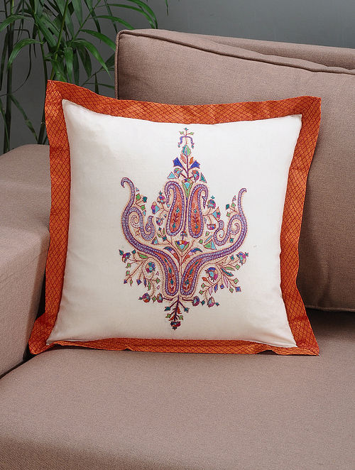 White-Orange Embroidered Wool Cushion Cover