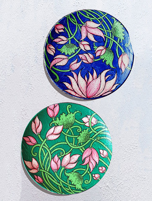 Lotus Blue and Green Hand-painted MDF Wall Plates (Set of 2) (Dia - 10in, H - 1.5in)