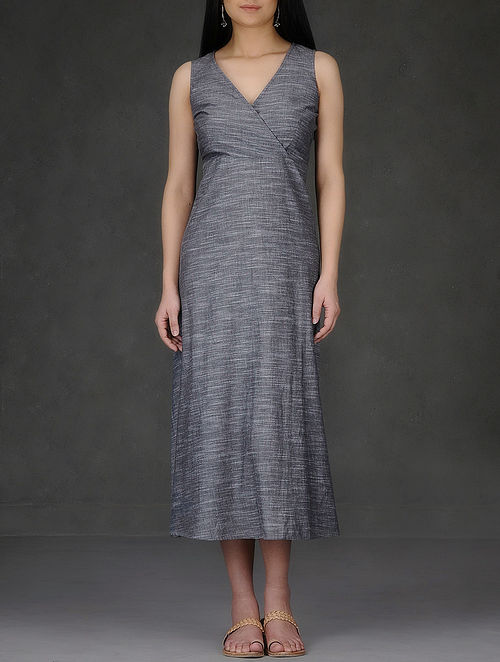 Grey V-Neck Cotton Chambray Dress