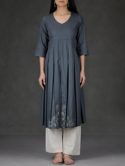 Grey Hand Embroidered and Pleated Cotton Dobby Kurta-M