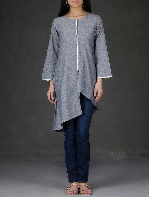 Grey Asymmetrical Hem Button Down Cotton Chambray Tunic-M