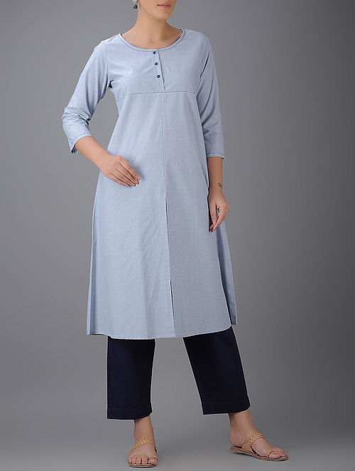 Blue Cotton Kurta with Front Slit-XL