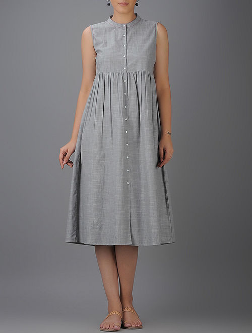 Grey Button-down Cotton Dress with Gathers-M
