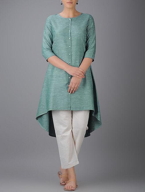 Green Button-down Asymmetrical Hem Cotton Kurta