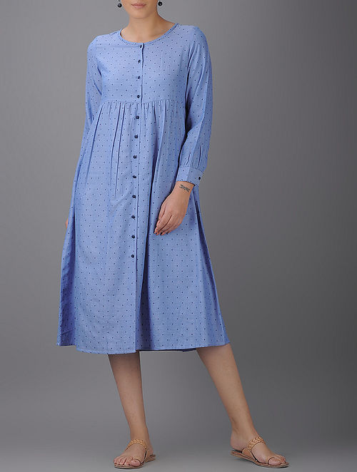 Blue Button-down Cotton Dress with Gathers