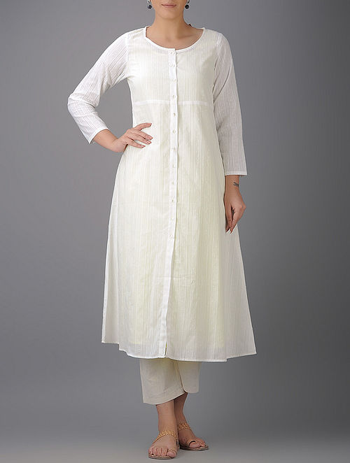 Ivory Button-down Cotton Kurta with Slip (Set of 2)