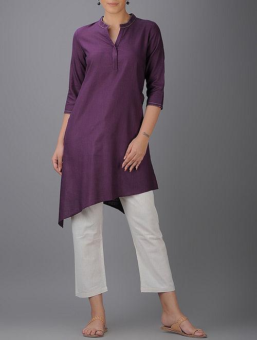 Purple Asymmetrical Hem Cotton Kurta