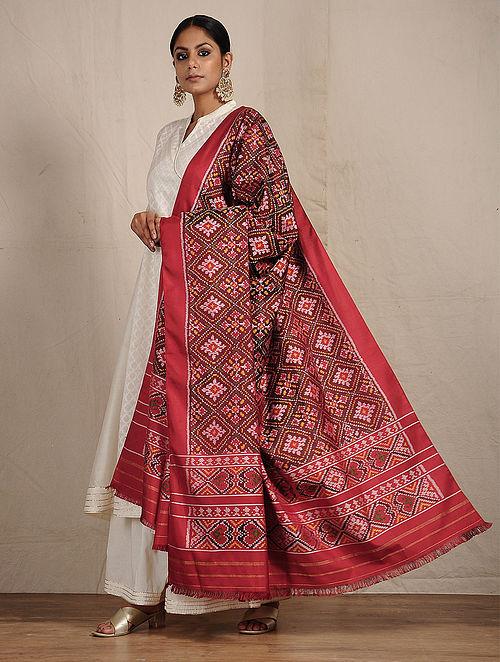 Buy Maroon Red Ikat Patola Silk Dupatta Online At Jaypore Com