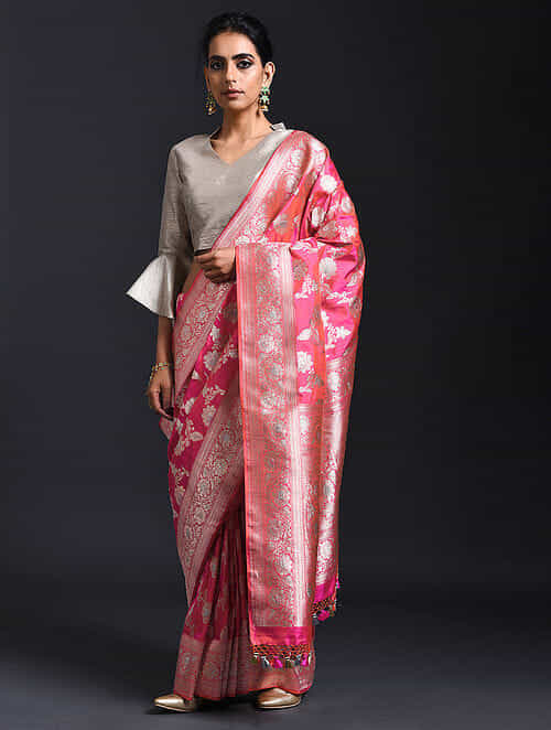 ebc32601b Buy Pink Benarasi Pure Silk Saree with Tassels Online at Jaypore.com