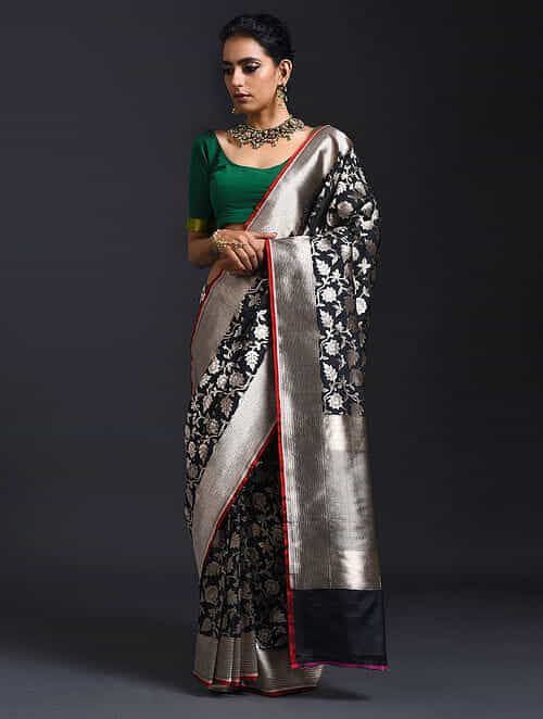 20fd7f234 Buy Black Benarasi Pure Silk Saree Online at Jaypore.com