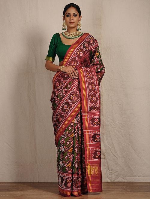 Buy Green Red Ikat Patola Silk Saree With Zari Online At