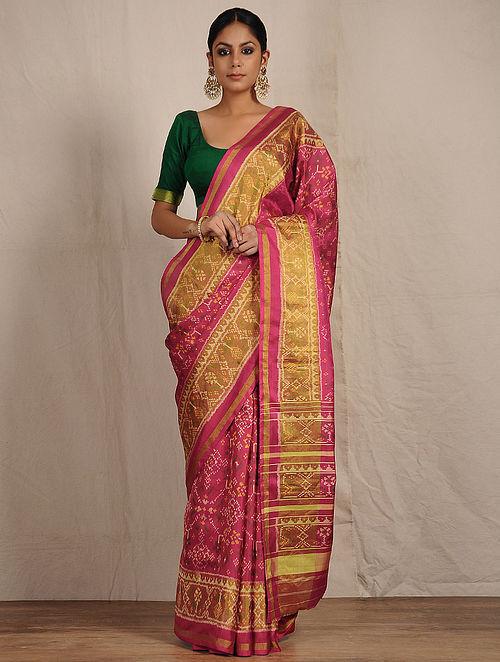 db654eae02 Buy Pink Ikat Patola Silk Saree Online at Jaypore.com