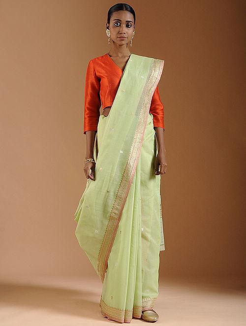 2ff8312566 Buy Green Benarasi Cotton Saree Online at Jaypore.com