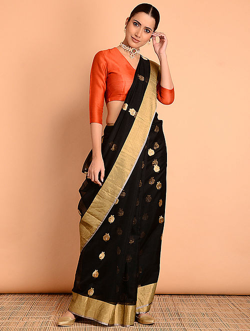 b838b0e5ec7e29 Buy Black Benarasi Pure Silk Saree Online at Jaypore.com