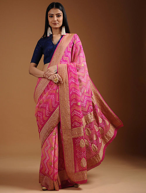 Pink-Yellow Bandhani Georgette Saree