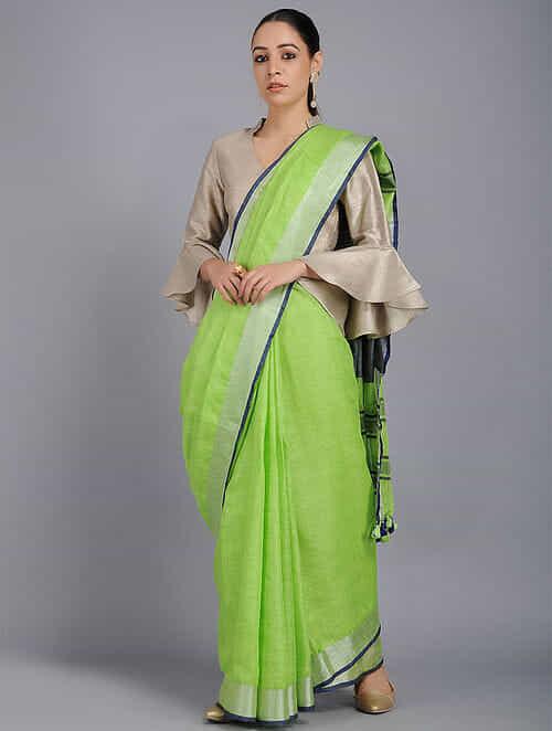 5f6580fc1554f Buy Green Linen Saree with Zari and Tassels Online at Jaypore.com