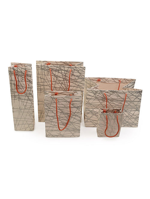 Beige-Grey Abstract Printed Gift Bags - Set of 5