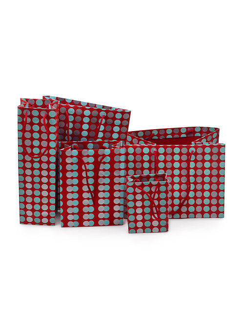 Red-Mint Green Polka Dot Printed Gift Bags - Set of 5