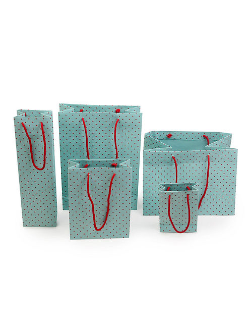 Mint Green-Red Polka Dot Printed Gift Bags - Set of 5