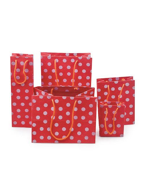 Red-Ivory Polka Dot Printed Gift Bags - Set of 5
