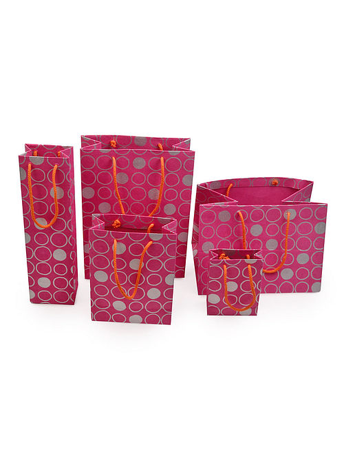 Pink-Grey Polka Dot Printed Gift Bags - Set of 5