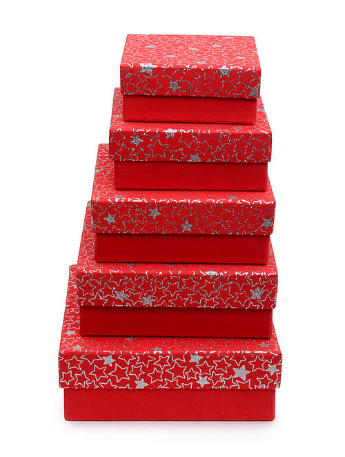 Red Star Glitter Printed Square Boxes - Set of 5