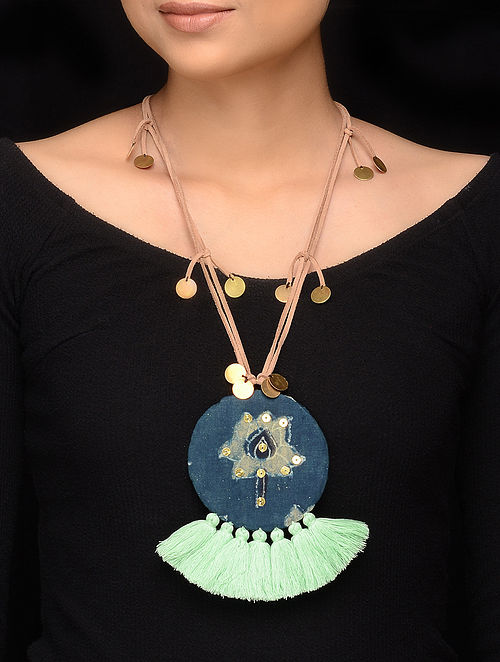 Multicolored Handmade Fabric Pendant Necklace