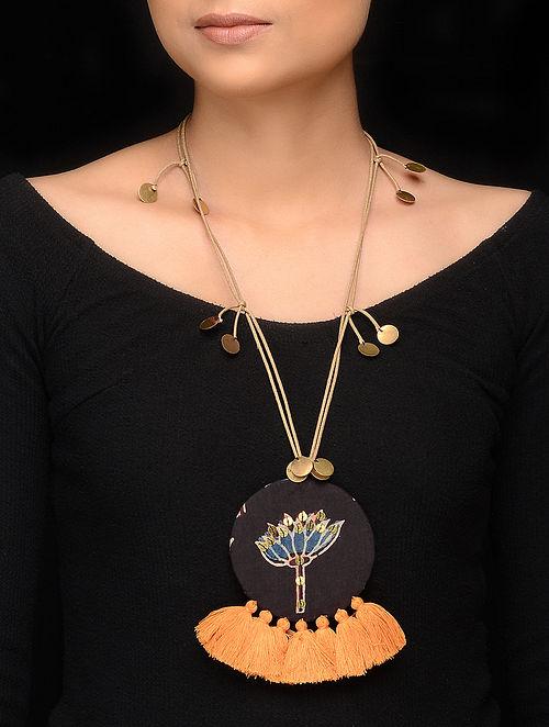 Black Yellow Handmade Fabric Pendant Necklace