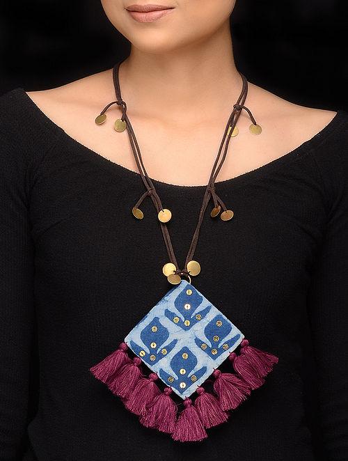 Blue Purple Handmade Fabric Pendant Necklace