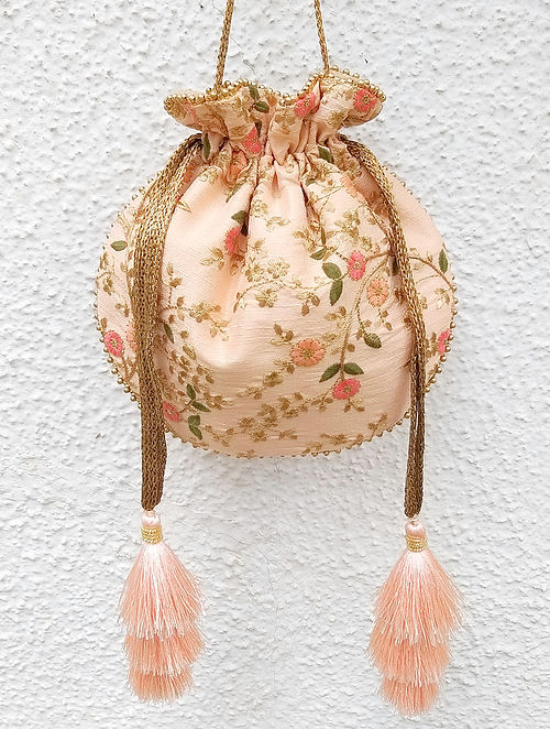 Peach Handcrafted Embroidered Poly Silk Potli