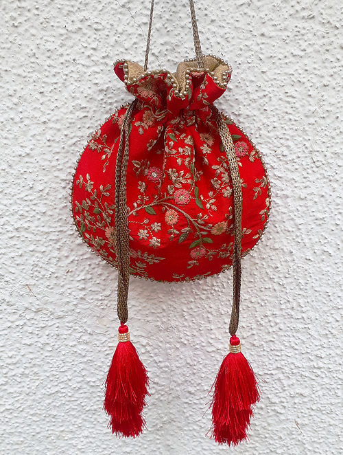 Red Handcrafted Embroidered Poly Silk Potli