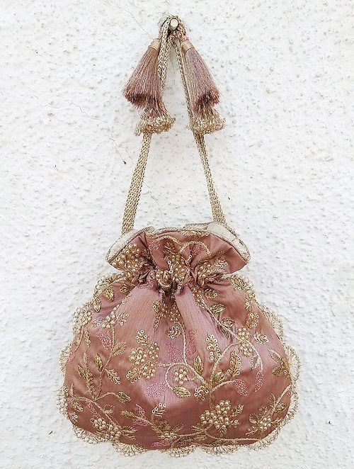 Mauve Handcrafted Embroidered Poly Silk Potli with Pearls