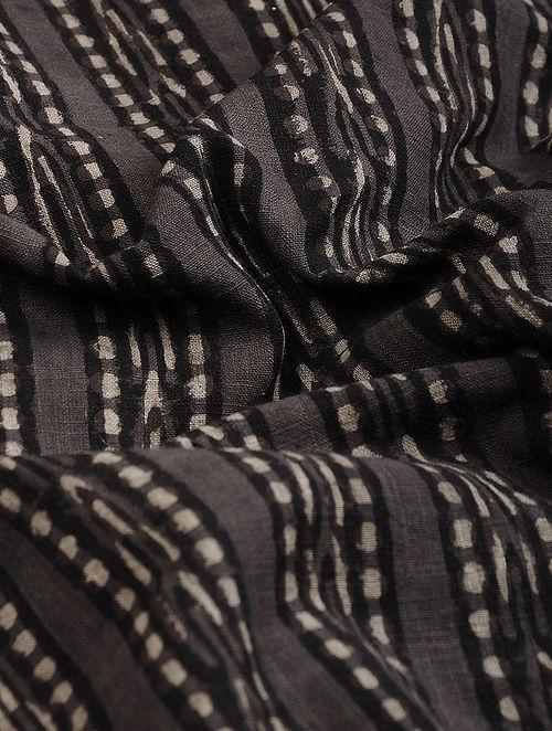Brown-Black Block Printed Natural Dyed Cotton Slub Fabric