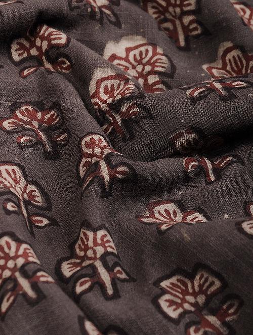 Brown-Maroon Block Printed Natural Dyed Cotton Slub Fabric