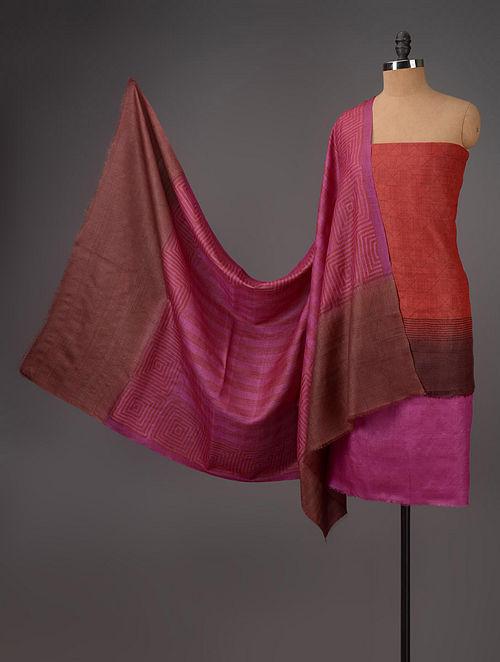 Red-Brown-Pink Tussar Silk Block Printed Kurta Fabric with Salwar and Dupatta - Set of 3