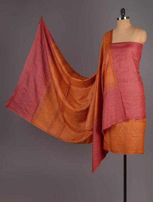 Orange-Red Tussar Silk Block Printed Kurta Fabric with Salwar and Dupatta - Set of 3