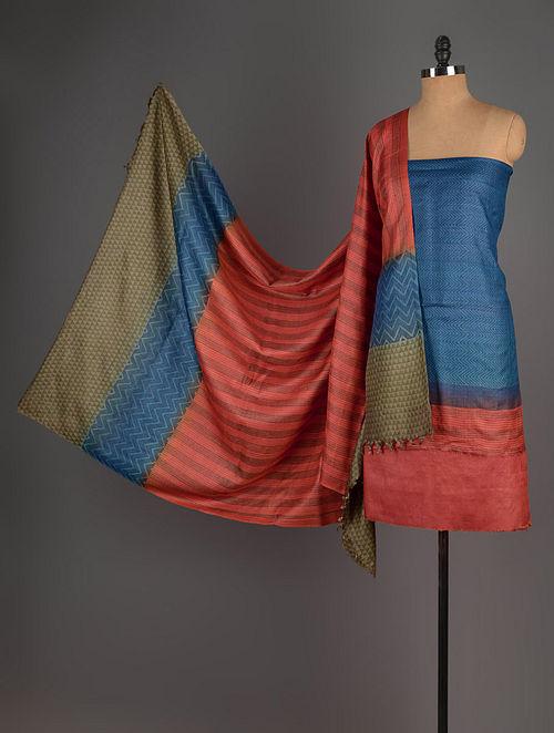 Red-Blue-Olive Tussar Silk Block Printed Kurta Fabric with Salwar and Dupatta - Set of 3