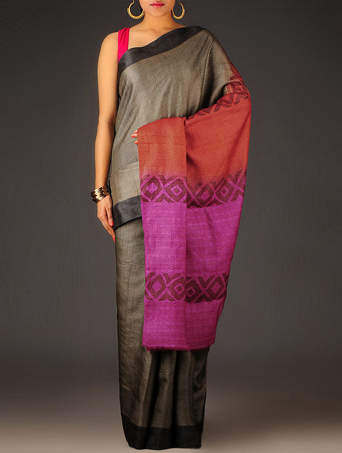 Black-Fuschia Geometric Tussar Silk Block Printed Saree