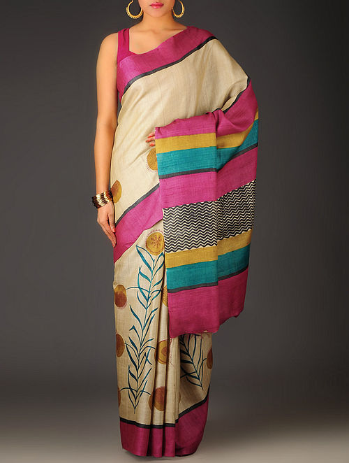 Beige-Multi-Color Abstract Tussar Silk Block Printed Saree