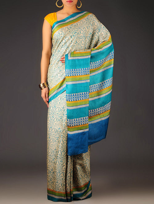 Beige-Blue Floral Tussar Silk Block Printed Saree