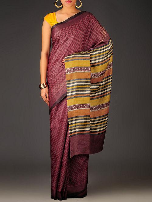Maroon-Multi-Color Herringbone Tussar Silk Block Printed Saree