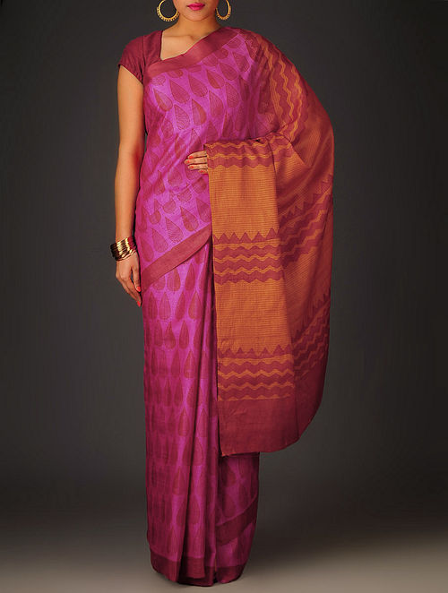 Fuschia-Grey-Orange Leaf Tussar Silk Block Printed Saree