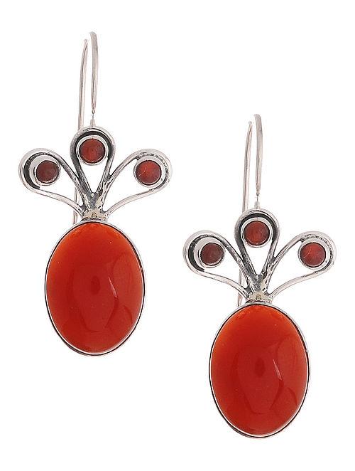 Red Onyx Silver Earrings