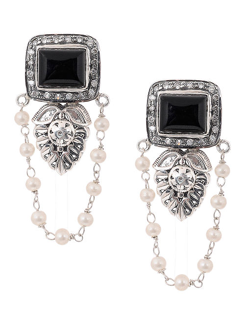 a4e2129954f Buy Black Onyx and Pearl Silver Earrings Online at Jaypore.com