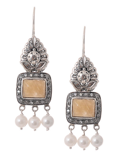 Yellow Quartz and Pearl Silver Earrings