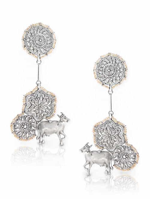 Vintage Silver Earrings with Pearls
