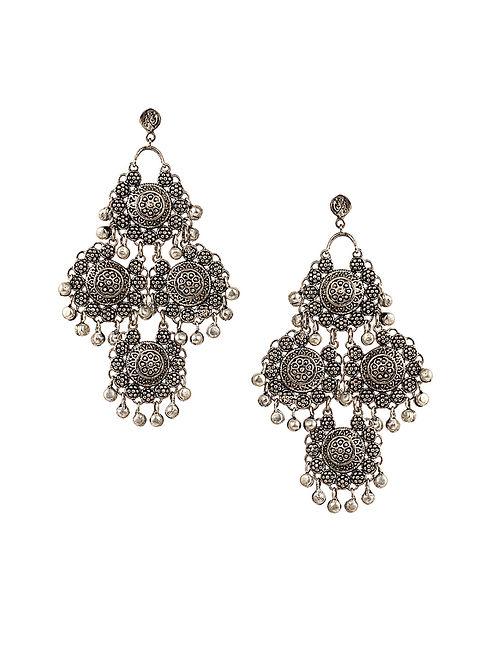 Silver Tone Tribal Earrings