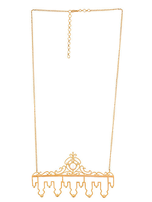 Gold Tone Handcrafted Necklace with Pearl