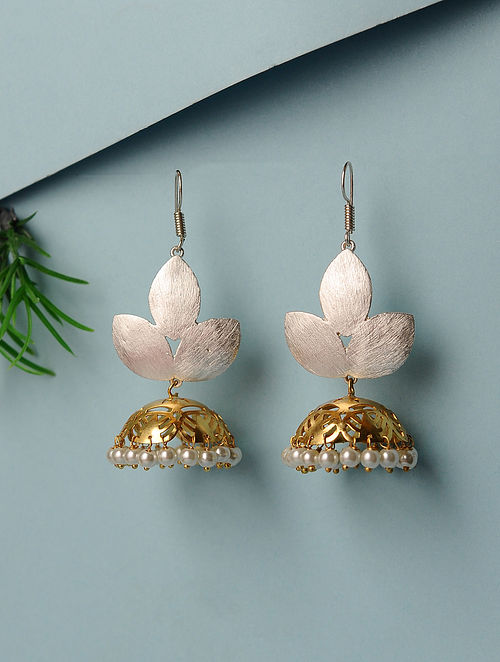 Dual Tone Handcrafted Jhumkis with Pearls
