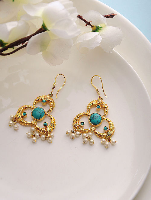 f3d3cd45719b5a Turquoise Gold Tone Silver Earrings with Pearls Delicate Dewdrops